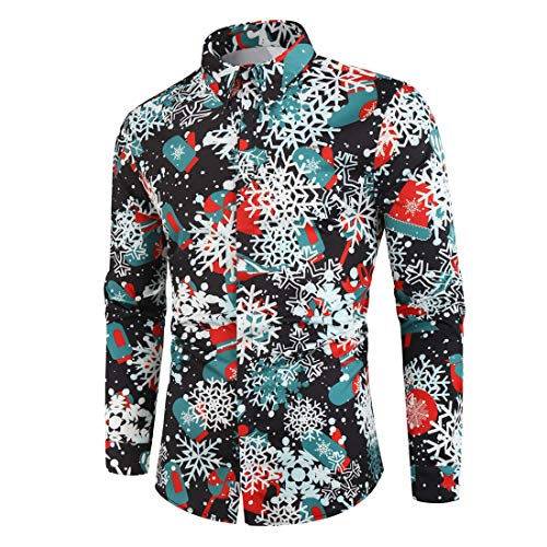 Men's Shirt Slim Fit 3D Printed Christmas Tree Button-Down Collar Long Sleeve Bluse Lightweight Breathable Christmas Hawaii Festival Party Casual Wear Top XL