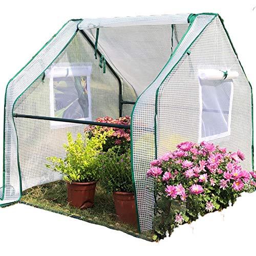 Gzhenh Invernadero Pequeño,Miniatura Plantas Casa De Crecimiento Diseño De Rejilla De PE Impermeable A Prueba De Viento Invernadero De Tomate (Color : White, Size : 90x90x90cm)