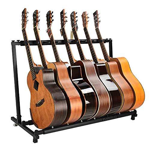 JUEYAN 7-Fach Gitarrenständer Akustikgitarre Konzertgitarre E-Gitarrenständer Zusammenklappbar E-Gitarre Ständer für Klassik- Westerngitarre Faltbar