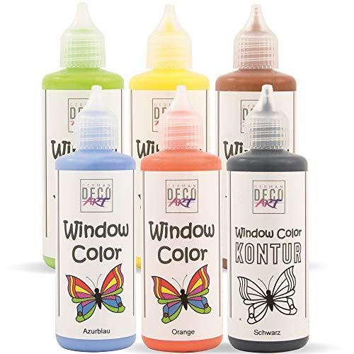 German Deco Art Window Color Set (6 x 82 ml Set Nature) - Abziehbare Fenstermalfarbe/Stickerfarbe auf Wasserbasis für Glatte Oberflächen wie Glas, Spiegel Fliesen