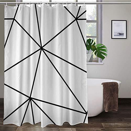Zara Mono Duschvorhang mit geometrischem Muster, weiß, schwarz, bunter Duschvorhang aus Polyester, mit Haken, 152,4 x 182,9 cm (B x H)