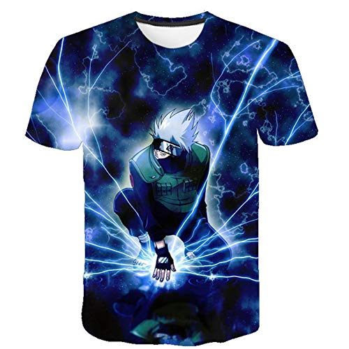 ZOSUO 3D T-Shirt Digital Gráfica Naruto Hatake Kakashi Unisex Camisetas De Manga Corta Casual Hipster Camisas Deportivas Sport Graphics tee Impreso,M