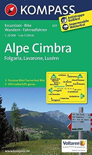 Carta escursionistica n. 631. Alpe Cimbra. Folgaria, Lavarone, Lusérn 1:25.000: Wanderkarte mit Radrouten. GPS-genau. 1:25000