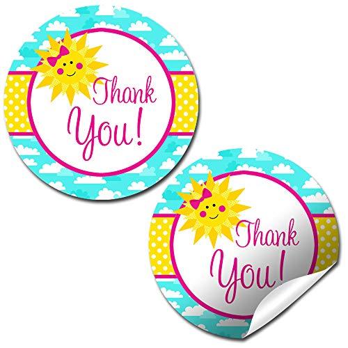 Ray of Sunshine Summer Birthday Thank You Sticker Labels for Girls, 40 2' Party Circle Stickers by AmandaCreation, Great for Party Favors, Envelope Seals & Goodie Bags