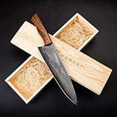 """HANDMADE SAN MAI STEEL BLADE - Made of San Mai Steel and hardened to 56-60 on the Rockwell Hardness Scale. The 8"""" blade is perfect for tactical or survival use. RAZOR-SHARP BLADE - This steel blade is made of 1095 and 15n20 steels. The 1095 steel has..."""