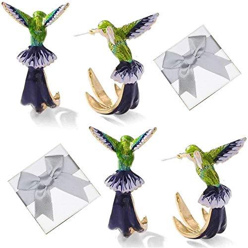 AAQQ Pendientes de colibrí volador, bonitos aretes de colibrí, coloridos aretes de colibrí, un par de bonitos pendientes para niñas, para tu hermosa hija.