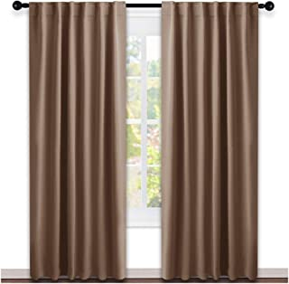NICETOWN Blackout Curtain Panel for Living Room - (Cappuccino Color) 52 inches Wide by 84 inches Long, 2 Panels Set, Insulated Room Darkening Window Drapes