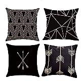 Mocofo 4er Set Dekorativ Kissenbezug Geometrische Muster 45 x 45cm Sofa Büro Dekor Kissenhülle aus...