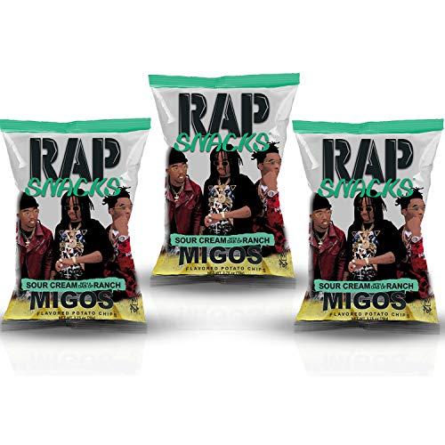 Rap Snacks Potato Chips 2.75 oz Bags (Migos Sour Cream Dab of Ranch, 3 Pack)