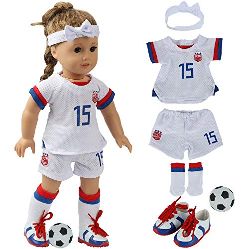 """fundolls 18 Inch Doll Clothes and Accessories - Team USA 6 Piece Soccer Outfits Uniform, Includes Shirt, Shorts, Socks, Headband, Football and Shoes, Fits 18"""" American Girl Doll, My Life Doll (White)"""