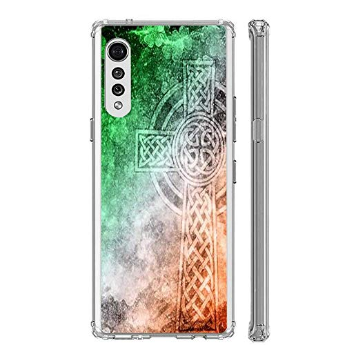 Pure Clear Phone Case Distressed Irish Celtic Cross Compatible with LG Stylo 6 Stylo 5 K51 V60 ThinQ V60 Velvet 5G G8 Velvet G8 ThinQ G7 ThinQ V40