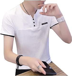 Mens Notch Collar Relaxed Short Sleeves Button Down T-Shirt Top