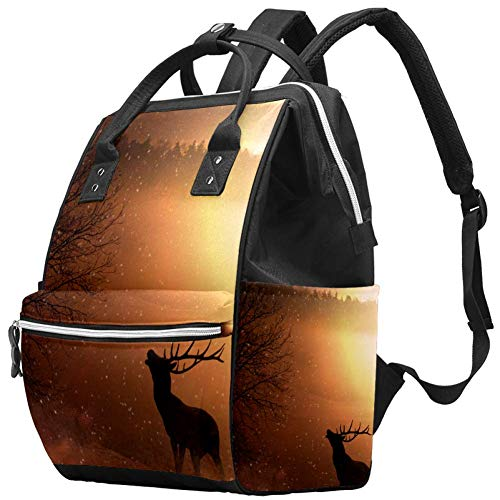 Grand sac à langer multifonction pour bébé Motif cerf de champs Coucher de soleil Sac à langer Voyage Sac à dos pour maman et papa