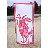 The Royal Standard Microfiber Beach Towel 34x70, Crab Pink/Orange