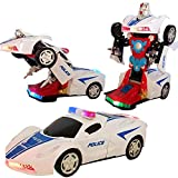 Battery Operated Bump and Go Transforming Toys for Kids -Auto Transforming Auto Robots Action Figure and Toy Vehicles - Realistic Engine Sounds & Beautiful Flash Lights (White Police Car)