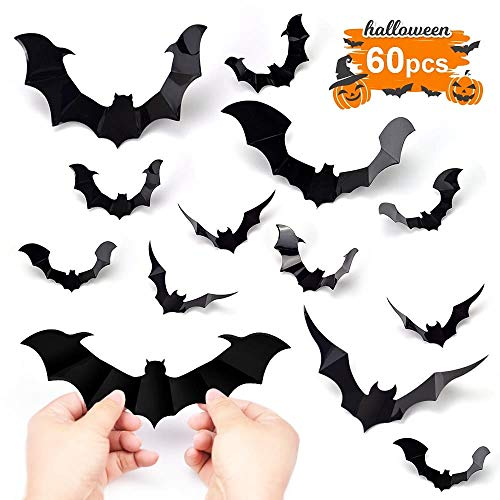 Hely Cancy Halloween Bats Decorations,60PCS PVC Bat Wall Decals Stickers,3 Styles 3D Removable Wall Sticker with 4 Different Sizes for Halloween Decor Party Favors Props Supplies Cemetery Decor