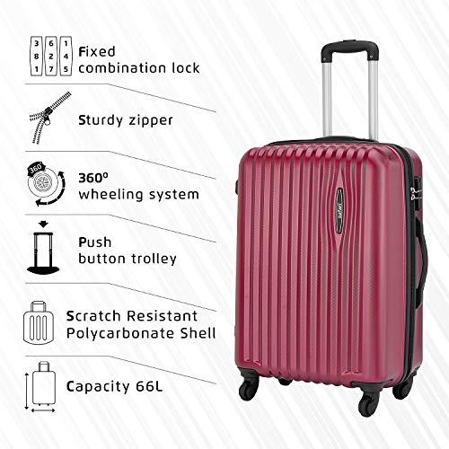 Safari Glimpse 4W 69 cm Wine Red Hardsided Check-in Trolley, Super-Sized Luggage