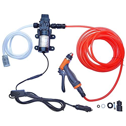 Kit de limpieza de alta presión DC12V / 60W con regulador de bomba de agua autocebante de la pistola de agua, kit de lavado portátil GEEWIN
