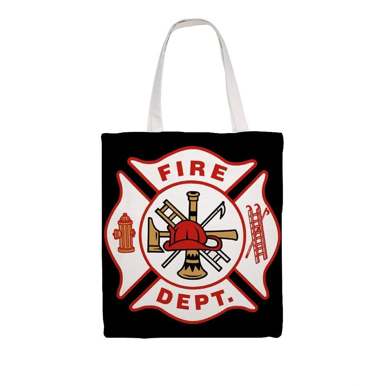 強調封建準備したズックバッグ トートバッグ 手提げ袋 大容量 ショルダー 買い物 旅行 質感 収納便利 耐久性 人気 おしゃれ 軽量 鞄 Fire Dept Logo 38*41cm