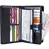 Itslife Womens Wallet,Large Capacity RFID Blocking Leather Wallets Credit Cards Organizer Ladies Wallet with Checkbook Holder,Black