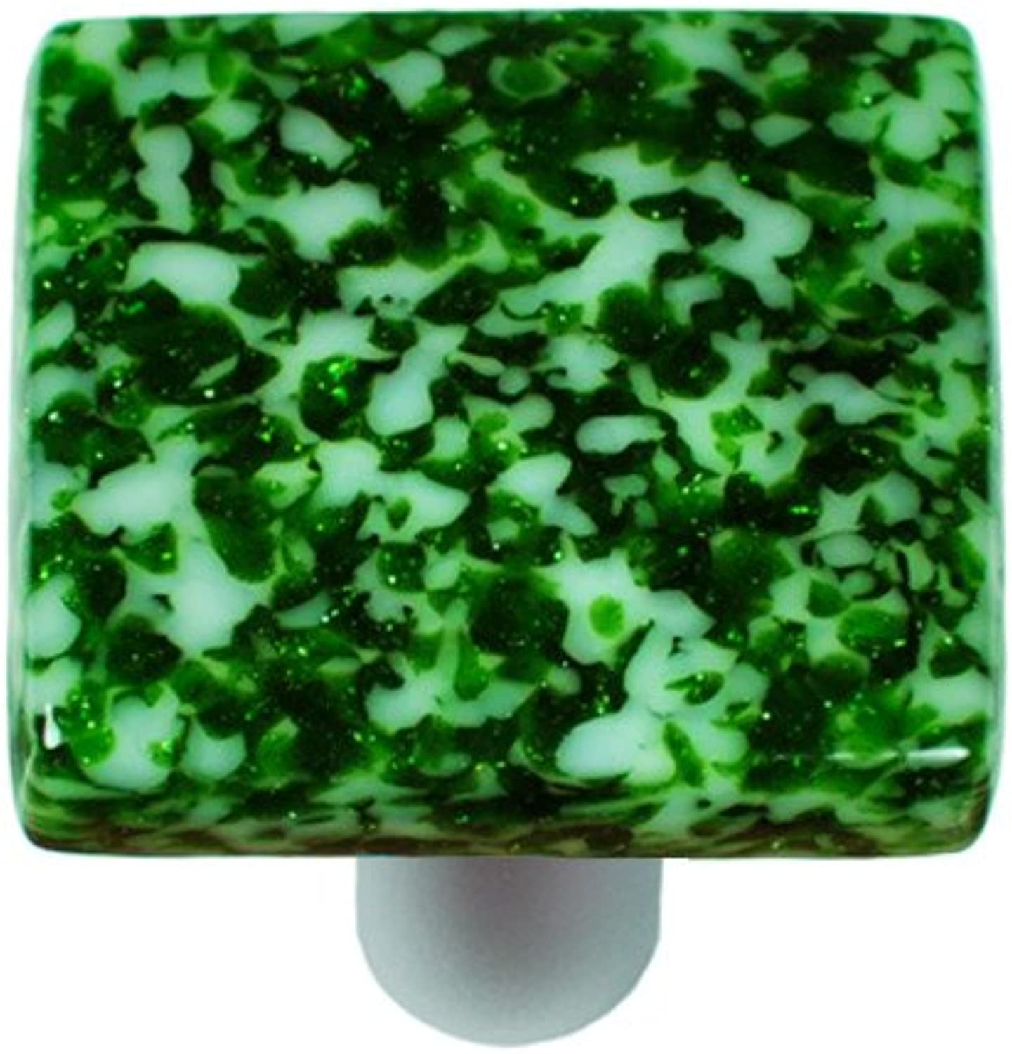 Hot Knobs HK8053-KA Granite Light Metallic Green & White Square Glass Cabinet Knob - Aluminum Post