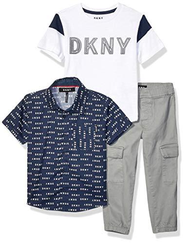 DKNY Boys' Little 3 Piece Set, All Over Logo Dress Blues, 4