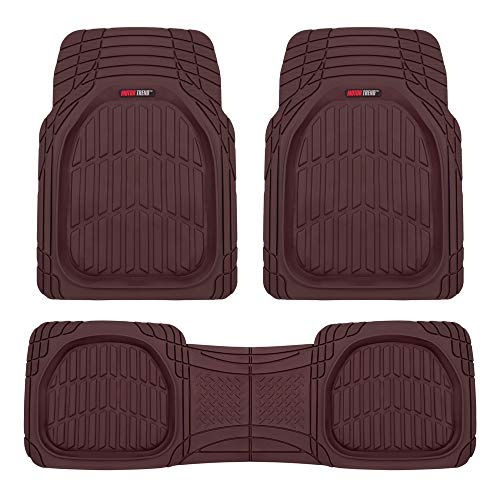 Motor Trend MT923 Premium FlexTough Floor Mats All-Protection-DeepDish Front & Rear Combo Set – w/Traction Grips for Car Auto Sedans SUVs Trucks (Burgundy)