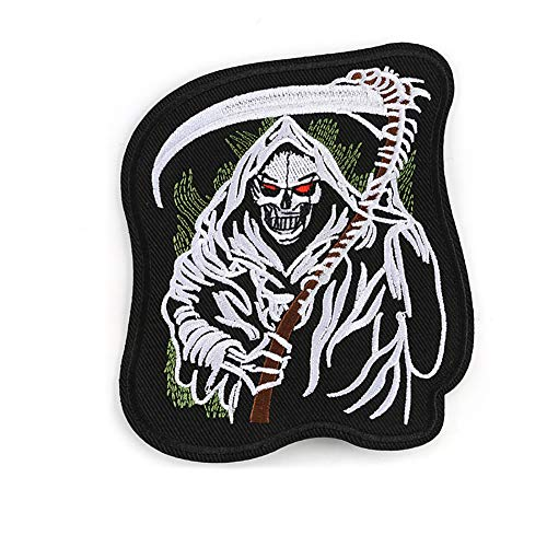 Iron on Patches Skull Style Appliques Cool Patches Fabric Embroidered Patches Motif Applique Kit, Perfect Ironed on Jackets, Clothing (Grim Reaper)