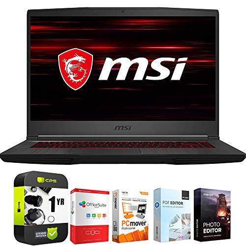 MSI GF65 Thin 9SEXR-249 15.6' Intel i5-9300H 8GB/512GB SSD Gaming Laptop Bundle w/ Elite Suite 18 Software (Office Suite Pro, Photo Editor, PDF Editor, PCmover Pro) + 1 Year Protection Plan