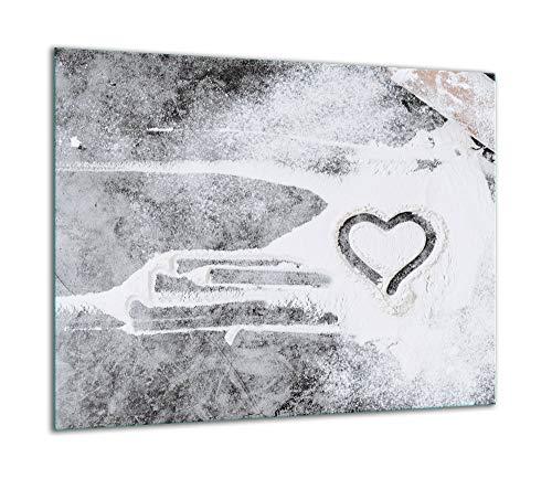TMK   Herdabdeckplatte 60x52 Einteilig Glas Elektroherd Induktion Herdschutz Spritzschutz Glasplatte Deko Schneidebrett Herz Küche