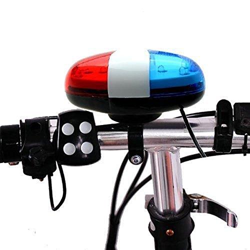 Alwayswin Fahrradklingel, Sicherheit 6 LED Fahrrad Licht mit 4 Sounds Trompete elektrische Fahrrad Sirene Horn Polizei Sirene LED Blinklicht