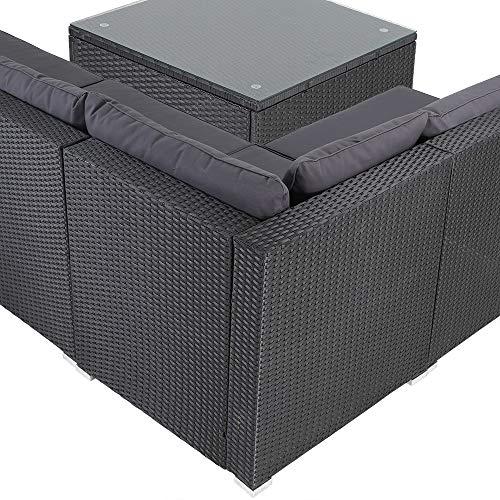 Casaria Poly Rattan XXL Lounge Set inkl. 7cm Auflagen und 15cm dicken Kissen Tisch mit Glasplatte frei stellbare Elemente Gartenmöbel Sitzgruppe Schwarz Grau - 2