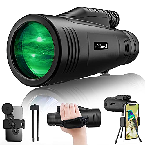 Monocular Telescope - 12X50 Professional Portable Waterproof Monocular with Smartphone Adapter, HD Super Zoom BAK4 Monocular for Adults Kids for Bird Watching, Camping, Hiking