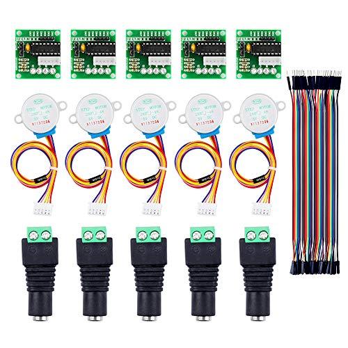 IZOKEE 5 Sätze Stepper Motor Schrittmotor 5V 28BYJ-48 ULN2003 + ULN2003 Treiberplatine + DC Adapter Terminalblock + Male-Female Jumper Wire für Arduino