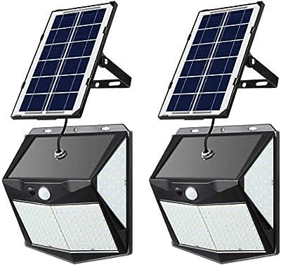 YOUAU Solar Lights Outdoor, 240 LED Solar Spotlight IP65 Waterproof Outdoor Lights Security Solar 3 Sensor Modes for Yard, Garage, Front Door(2pack)