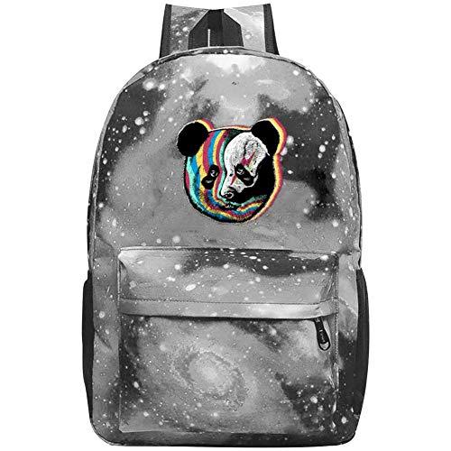 Rainbow Panda Face Galaxy School Bag Backpack, Student Stylish Unisex Laptop Book Bag Gray