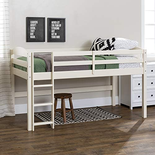 Walker Edison Della Classic Solid Wood Twin over Wood Loft Bunk Bed Twin Size White product image