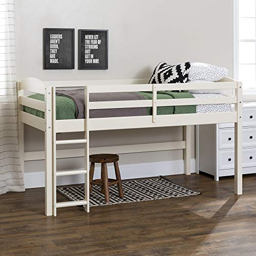Walker Edison Della Classic Solid Wood Twin over Wood Loft Bunk Bed, Twin Size, White