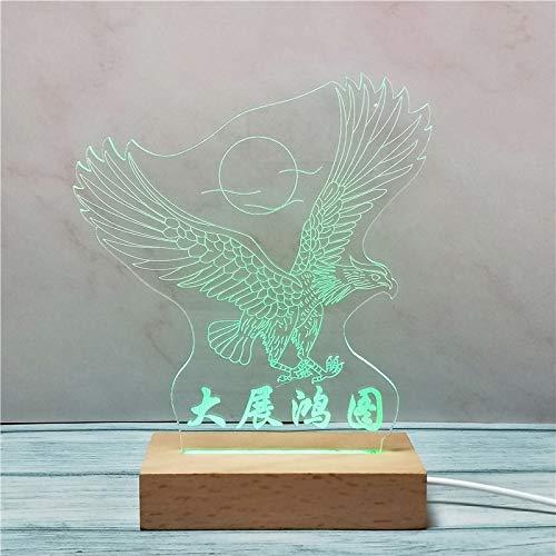 Massivholz 3D Nachtlicht kreative Acryl benutzerdefinierte Geschenk Licht aus Holz USB Stereo Vision kleine Tischlampe
