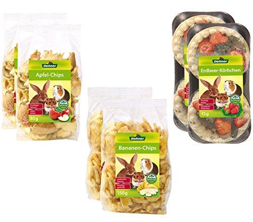 Dehner Nagersnack Obst Mix, je 2 x Apfel-Chips, Bananen-Chips und Erdbeer-Körbchen (490 g)