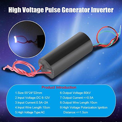 Akozon High Voltage Transformer DC 6-12V to 80kV Boost Step-up High Power Module High Voltage Pulse Generator Inverter Super Arc Pulse Ignition Module Inverterin