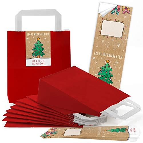 10 rote Kraftpapier Papier-Tüte Geschenktüte mit Henkel Boden 18 x 8 x 22 cm + 10 weihnachtliche Aufkleber FROHE WEIHNACHTEN ALLES GUTE FÜRS NEUE JAHR bunt beige grün Geschenkverpackung natur