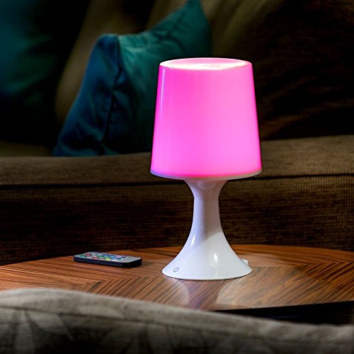 Auraglow Lámpara de Escritorio/Mesa de Noche con Luz LED Multicolor Inalámbrica con Baterías/Recargable via USB