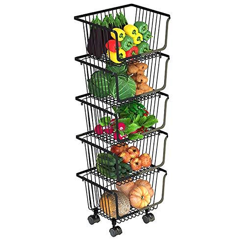 ZMLG Carro de Almacenamiento con 4 Ruedas y Cesto de Rejilla MetáLica, Cesto de Frutas y Verduras, Canasta Organizador de Utilidad para Cocina, Baño, Oficina, Negro,Five tiers