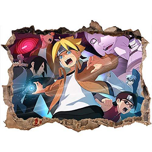 3D Naruto Japan Anime Pegatinas de Pared Vinilo Murales de Pared Impresión Art Autoadhesivo Grande póster Mural 60 * 90CM-B_80*120CM