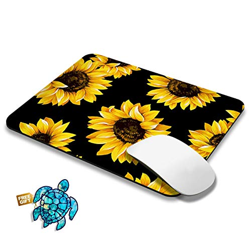 Gaming Mouse Pad Mat Sunflower Mousepads with Cute Stickers Non-Slip Rubber Base Square Mouse Pads for Laptop Compute Working Home Office Accessories