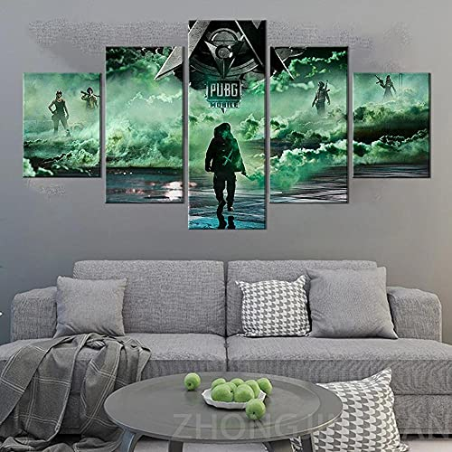 HAOQIPA 5 delar canvastavlor (inramad) väggdekoration målningar moderna vardagsrum sovrum på väggkonst för upphängning av mobiltelefon spel affisch/150 x 80 cm