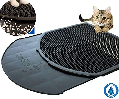 DzelCat SpreadZtrap Cat Litter Mat - Disinfecting ABS Plastic Litter Catcher Tray for Cats & Dogs - Waterproof 16'X19' Large Trapping Box Mat & Food Mat - Easy to Clean, Urine-Proof, Scatter Control
