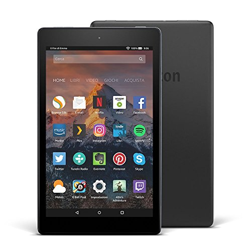 """Tablet Fire HD 8, Certificato e ricondizionato, schermo HD da 8"""" HD, 16 GB, (Nero) - Con pubblicità (7.Generation - 2017 Modell)"""