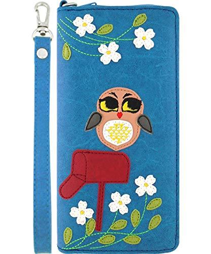 LAVISHY Geldbörse mit Handgelenk, Eule auf Briefkasten, vegan/Kunstleder, groß - Blau - Large